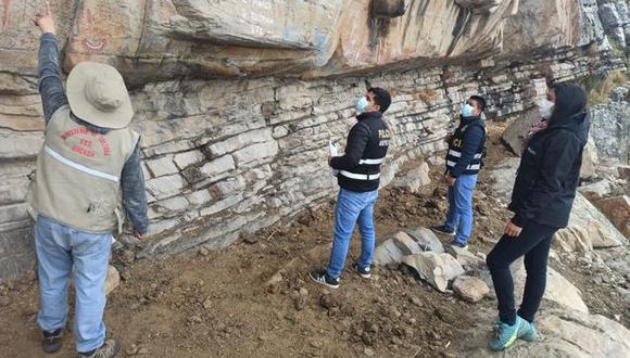 Una comitiva, integrada por representantes de la Municipalidad de San Marcos, la DDC de Áncash y la Policía Nacional, verificó los daños ocasionados en las pinturas de Pinta y Punta. (Foto: Municipalidad Distrital de San Marcos)