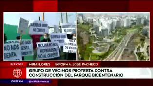 Miraflores: vecinos protestan contra construcción del Parque Bicentenario
