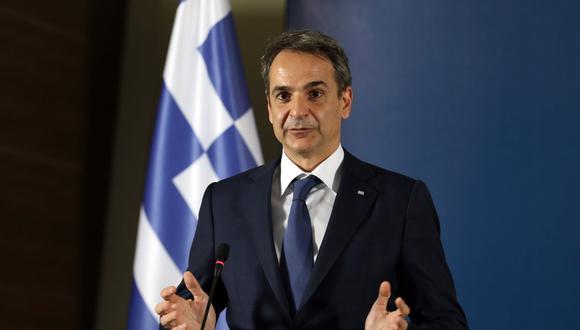 Imagen de una conferencia de prensa del primer ministro griego Kyriakos Mitsotakis. EFE