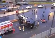 San Borja: tramo de Av. Circunvalación quedó bloqueado tras volcadura de bus | VIDEO