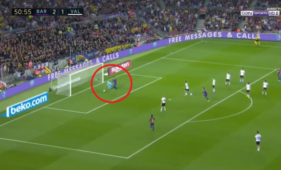 Barcelona vs. Valencia: Griezmann remató, rebotó en el palo y Piqué aprovechó para convertir el 3-1   Foto: Captura