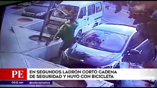 San borja: ladrón corta cadena de seguridad y se roba bicicleta en unos segundos