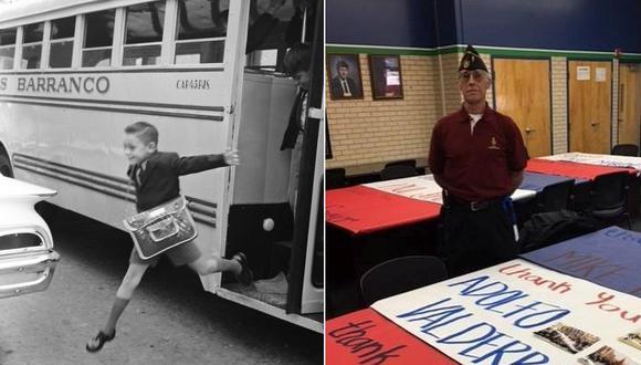 Izquierda: Adolfo Valderrama en su primer día de clases, en 1964. Derecha, sesenta años después, el economista y aficionado al surf Adolfo Valderrama vive en Denver, Colorado. Esta es su historia.