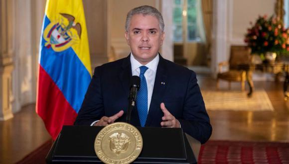El presidente Iván Duque, mientras ofrece un discurso transmitido desde la Casa de Nariño en Bogotá, Colombia. (Foto: EFE / EPA / Presidencia de Colombia).