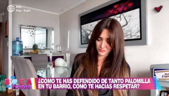 Rosángela Espinoza llora por temor a que su madre se contagie de COVID-19. (Foto: Captura América TV)