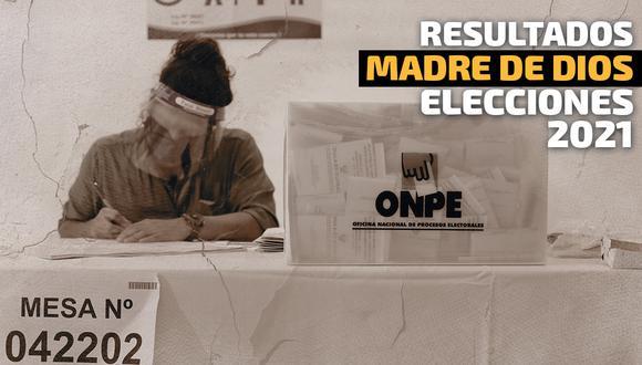 Resultados Elecciones 2021 en la región Madre de Dios, según conteo de la ONPE | Foto: Diseño El Comercio