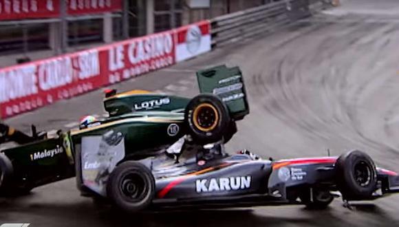 La toma de abordo más impactante para los organizadores es el accidente del italiano Jarno Trulli del 2010, cuando impactó contra el indio Karun Chandhok. (Youtube)