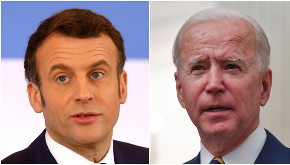 Emmanuel Macron y Joe Biden resaltaron la determinación común de actuar en el marco de la Organización Mundial de la Salud, sobre todo en el apoyo a los países más frágiles ante la pandemia. (Foto: LUDOVIC MARIN / POOL / AFP / NICHOLAS KAMM).