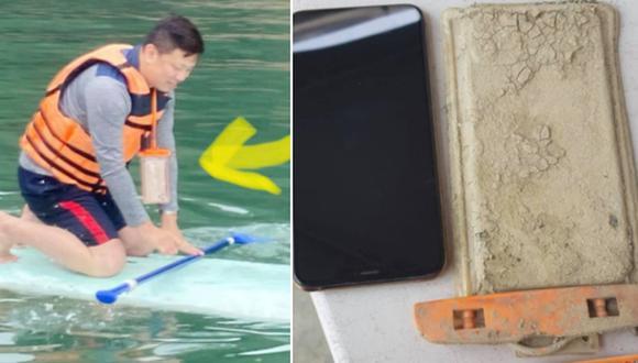 Hombre recuperó su celular en perfecto estado tras perderlo hace un año en un lago. (Foto: Chen Yj / Facebook)