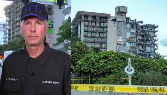 Imagen del alcalde de la ciudad de Surfside, en Miami Beach, Charles Burckett, y del edificio colapsado. (Captura - YouTube / EFE - Cristobal Herrera-Ulashkevich).