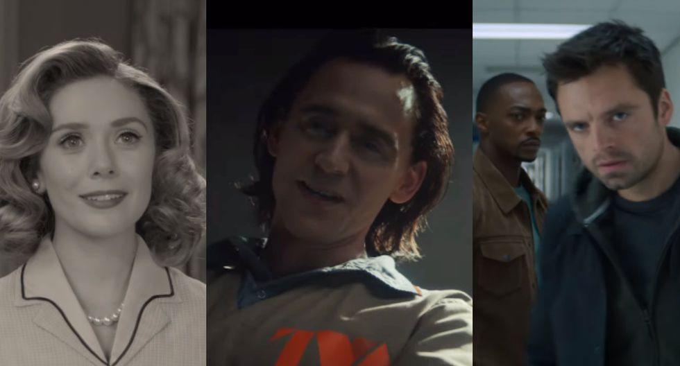 """Super Bowl 2020. De izquierda a derecha, imágenes de los adelantos de """"Wandavision"""", """"Loki"""" y """"Falcon and the Winter Soldier"""". Foto: YouTube."""
