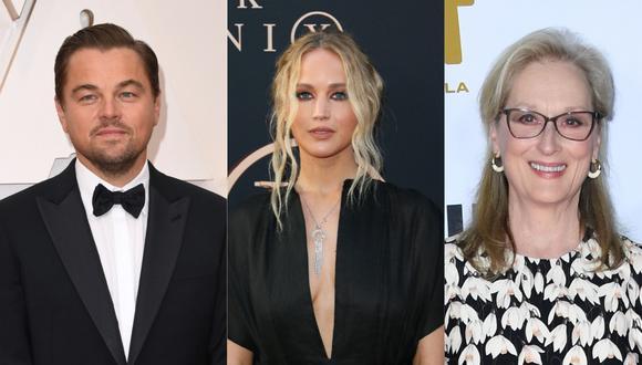 """Leonardo DiCaprio y Meryl Streep compondrán la lujosa escolta de Jennifer Lawrence en la película """"Don't Look Up"""". (Foto: AFP)"""