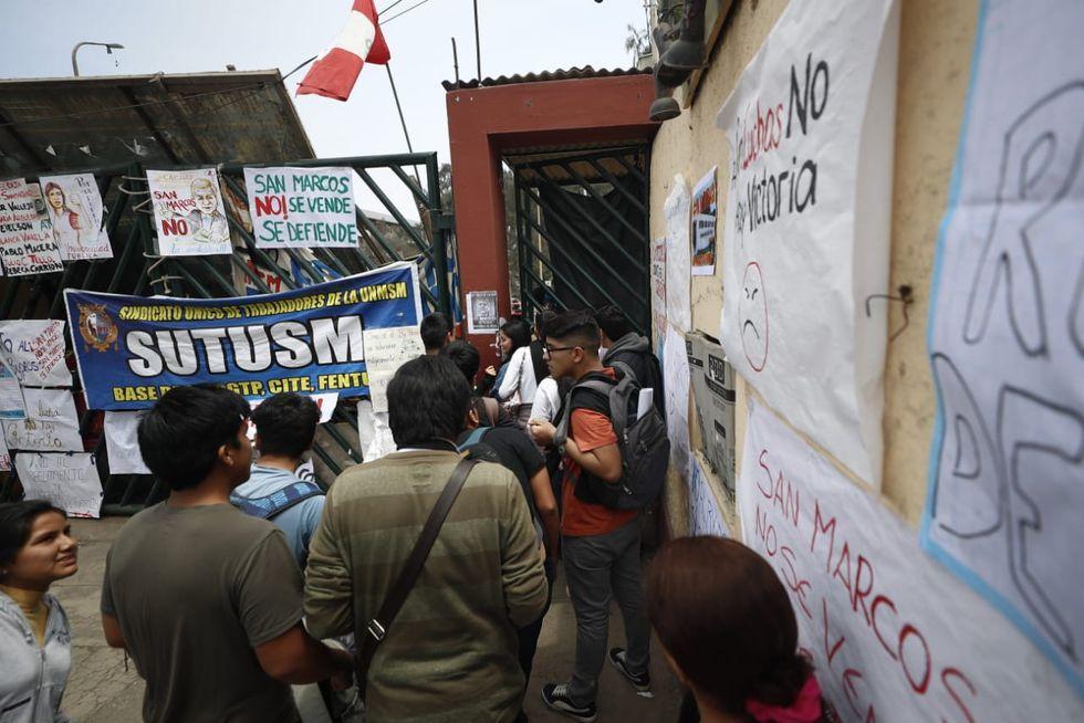 Universitarios continúan con la toma de la Universidad Nacional Mayor de San Marcos desde la noche del martes 17 de setiembre. (Foto: GEC)
