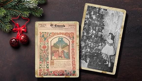 """Derecha, los """"ojos deslumbrados"""" de una niña –tal y como figura en la descripción de esta foto de El Comercio, en diciembre de 1955– observan con ilusión un árbol de Navidad instalado en casa de sus abuelos. Izquierda, especial navideño del suplemento dominical de aquel mismo año. Collage: Verónica Calderón."""