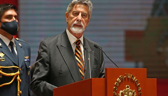 El mandatario Francisco Sagasti participó de la ceremonia de asunción de Elvia Barrios como presidenta del Poder Judicial. (Foto: Andina)