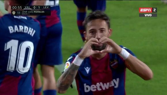 José Luis Morales debutó con gol en la nueva temporada de LaLiga de España. (Captura: ESPN)
