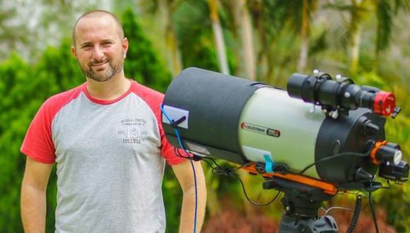 Guillermo Spiers Madge y el equipo que usó para la conjunción Júpiter-Saturno, en la foto, configurado para hacer fotografía de espacio profundo. FOTO: AstroFotoPeru en FB e IG.