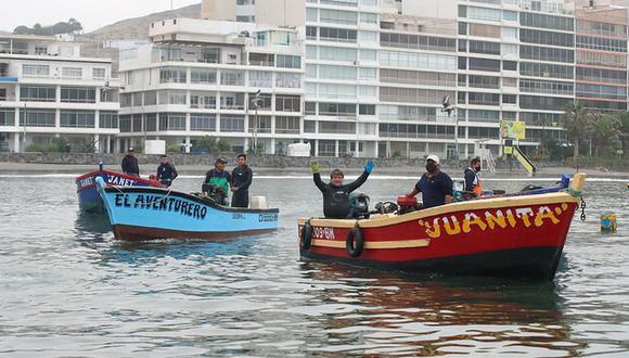 Los pescadores artesanales limpiaron la bahía de ancón. (Foto: Minam)
