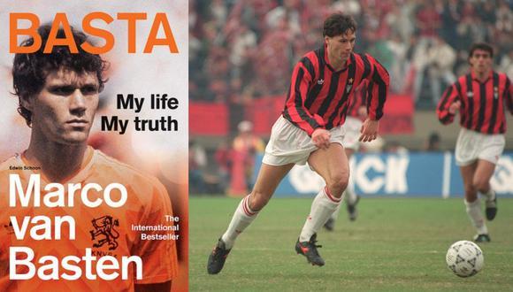 A la izquierda, la portada de la autobiografía de Marco Van Basten. A la derecha, durante un partido de la Copa Toyoya en Tokio (1990). Fotos: Cassell/ Toshifumi Kitamura para AFP.