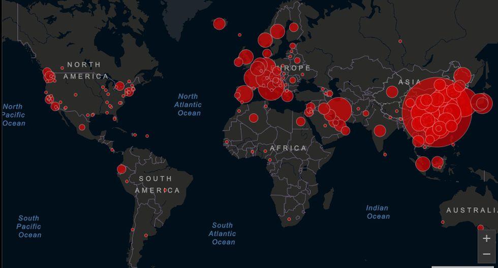 Coronavirus COVID-19 EN VIVO. El mapa que muestra el avance de la pandemia en todo el mundo (Imagen: Johns Hopkins University)