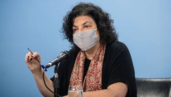 La ministra de Salud de Argentina, Carla Vizzotti, en una conferencia de prensa en la Casa Rosada en Buenos Aires en medio de la segunda ola de la pandemia de COVID-19. (Foto: MARIA EUGENIA CERUTTI / Presidencia Argentina / AFP).
