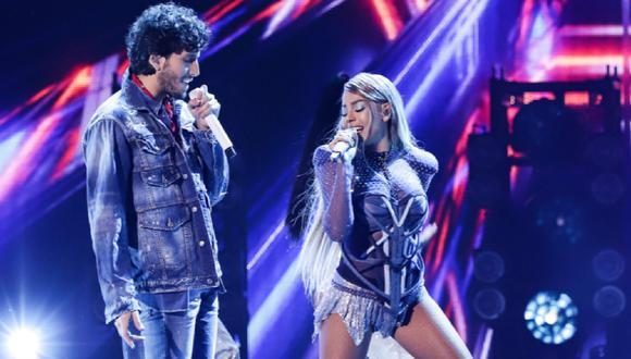 """Danna Paola y Sebastián Yatra cantaron """"No bailes sola"""" en Premios Juventud 2020. (Foto: @PremiosJuventud)"""