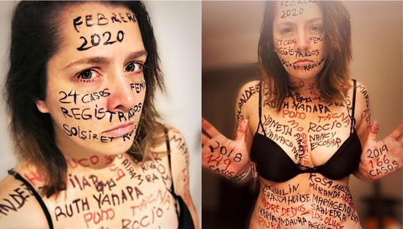 Yidda Eslava escribió en todo su cuerpo el nombre de las 24 víctimas de feminicidio de este año. (Foto: Instagram)