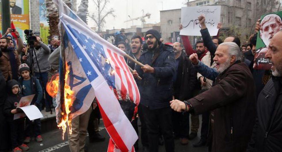 Tras la muerte de Qasem Soleimani hubo protestas contra EE.UU. en Teherán. (Foto: EPA, vía BBC Mundo).