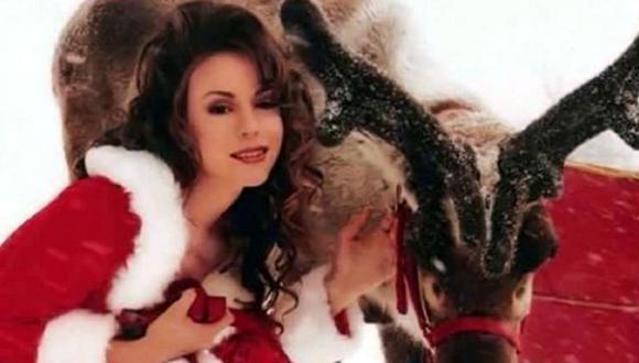 "Mariah Carey en el videoclip de ""All I Want For Christmas Is You"". (Fuente: Captura de pantalla/ YouTube)"