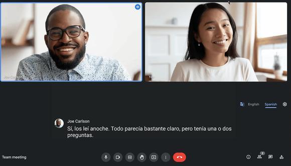 Google Meet crea las traducciones automáticas en tiempo real durante las reuniones. (Imagen: Google)