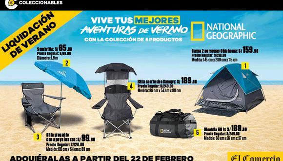 Disfruta el verano con estos 5 productos que te trae El Comercio con el respaldo de la licencia National Geographic. Ideal para disfrutar de la playa o camping con la familia y amigos. No te pierdas esta liquidación de verano.