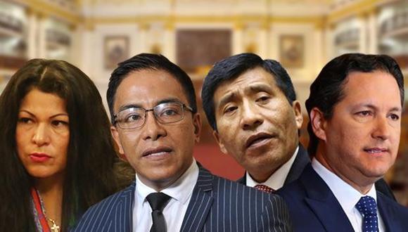 Yesenia Ponce, Roberto Vieira, Daniel Salaverry y Moisés Mamani fueron los protagonistas del 'pleno ético' del martes. (Composición: Pedro Vega / El Comercio)