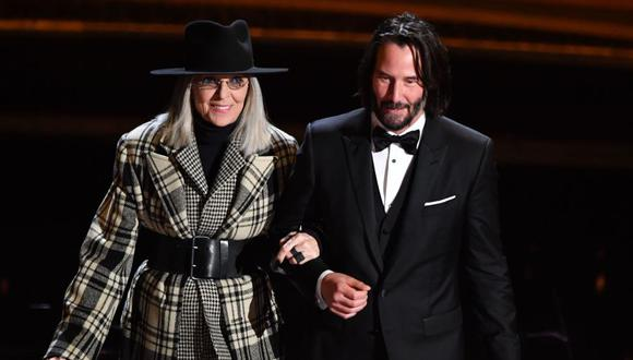 Keanu Reeves y su expareja Diane Keaton.(Foto: Agencia)