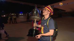 Copa del Rey: Jugadores del FC Barcelona celebraron la victoria también en al avión