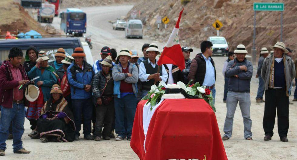 Imagen del velorio de Quintino Cereceda, comunero que falleció durante las protestas contra la minera Las Bambas en octubre del 2016. (Foto: Miguel Neyra / Archivo El Comercio)