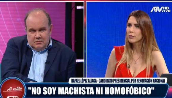 Juliana Oxenford protagonizó una acalorada entrevista con el candidato a la presidencia Rafael López Aliaga. (Foto: Captura de video)