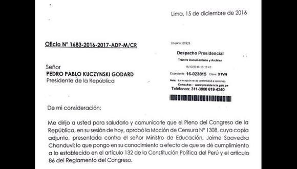 Despacho de PPK recibió oficio sobre censura a Jaime Saavedra