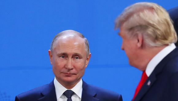 Vladimir Putin y Donald Trump en una imagen del 30 de noviembre del 2018 en Buenos Aires durante una cumbre del G20. (Reuters).