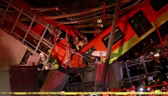 Vista general del colapso de unos vagones del metro en la Ciudad de México. (EFE/ Carlos Ramírez).