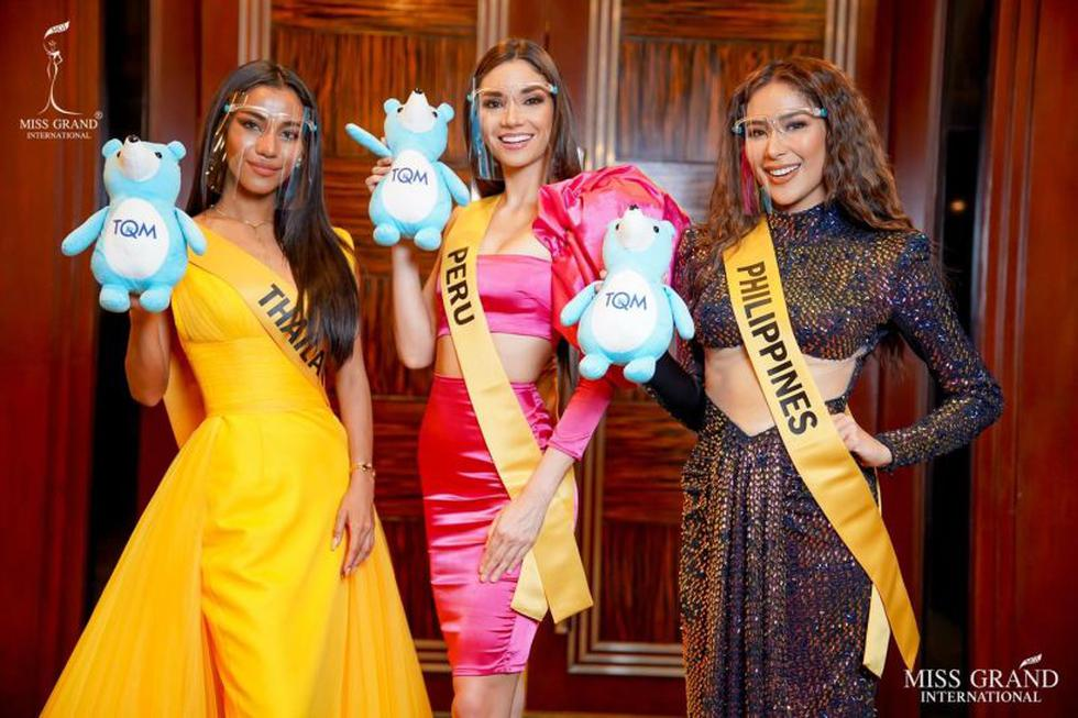 Representantes de Tailandia, Perú y Filipinas. Maricielo Gamarra de Perú quedó entre las mejores 20 tras su presentación. (Foto: Facebook Miss Grand International)