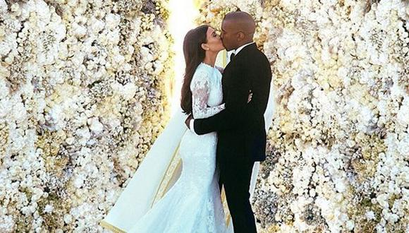Kim Kardashian y Kanye West rompen récord con foto de su boda