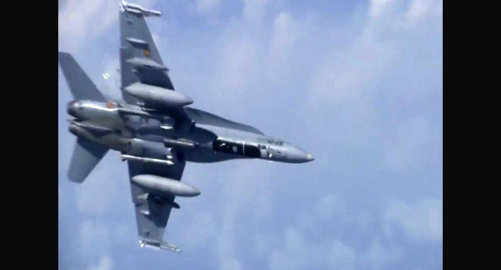 Dos aviones de combate ruso y un caza español F-18 tuvieron tenso encuentro sobre el mar Báltico. (Foto: Captura)
