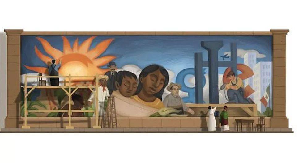 Al cumplirse 125 años del nacimiento del pintor mexicano Diego Rivera, Google le dedicó su doodle. El famoso muralista fue uno de los artistas más influyentes del siglo XX. (Captura de pantalla)