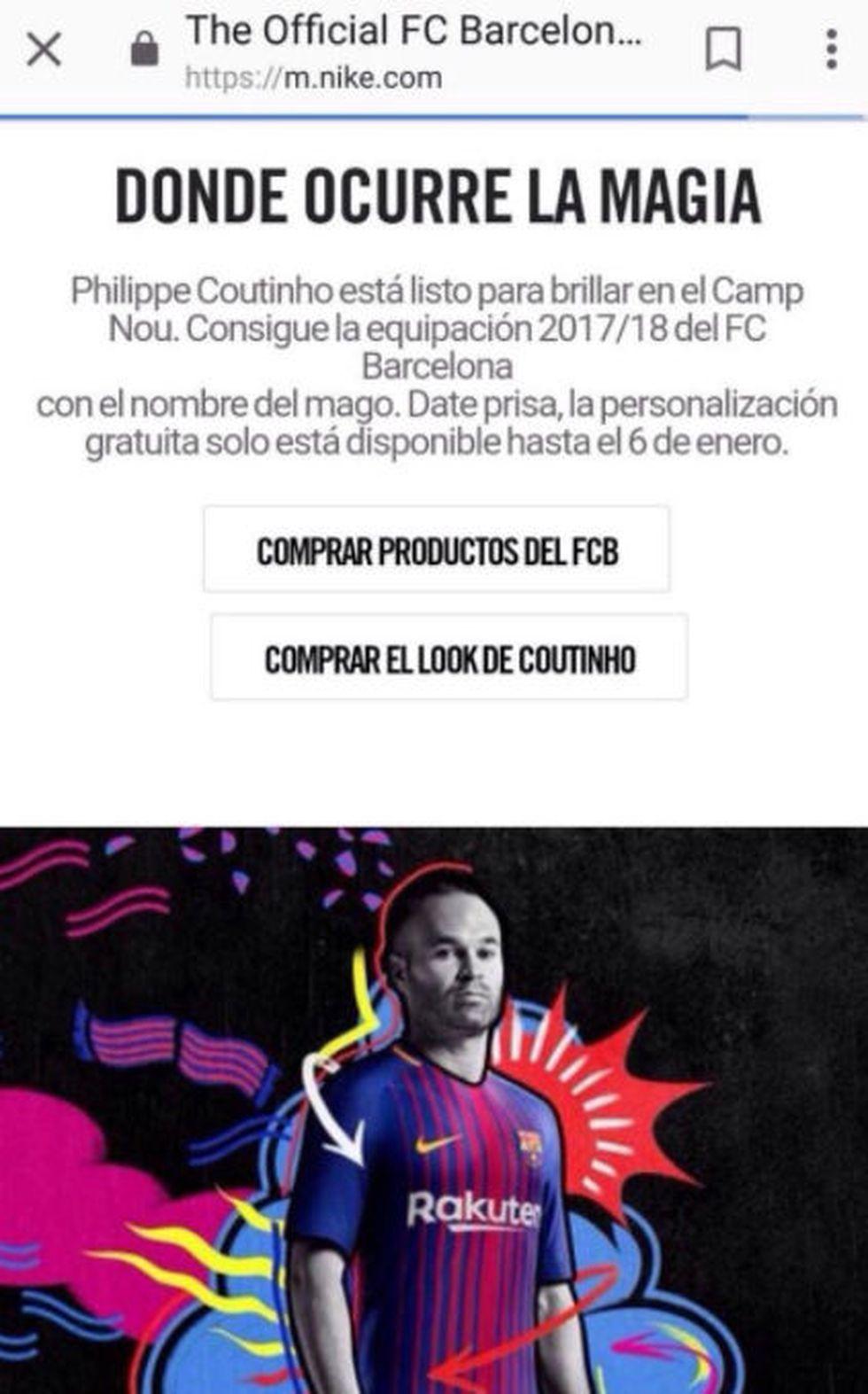 Nike y el mensaje en su web que anuncia la llegada de Coutinho al Camp Nou. (Foto: Web Nike)