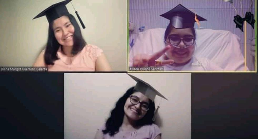 Diana Guerrero, Allison Quispe y Elizabeth Gutiérrez se alistaron para sustentar su tesis en abril. La segunda aún estaba internada recuperándose. (Foto: Archivo Personal Elizabeth Gutiérrez).