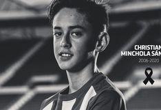 Atlético de Madrid anunció fallecimiento del futbolista Christian Minchola, de padre peruano, a los 14 años