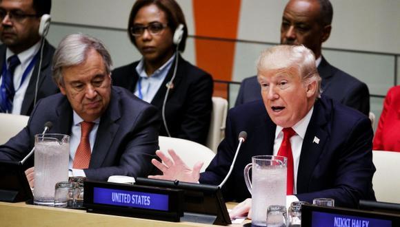 """En un discurso de 4 minutos, Trump criticó la """"burocracia y mala gestión"""" de la ONU, pero reconoció su """"gran potencial"""". (Foto: EFE)"""