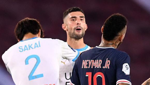 Neymar y Álvaro González tuvieron un fuerte cruce en el PSG vs. Olympique Marsella. (Foto: AFP)