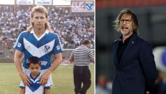 Gareca futbolista, en Vélez, el equipo de su padre: look punk. Gareca hoy, nuevo estilo pero el mismo: terno Tommy Hilfiger y ojo de Tigre.