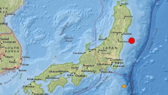 Terremoto de magnitud 7,1 sacude el este de Japón. Captura de pantalla del Servicio Geológico de Estados Unidos. (Captura/USGS).